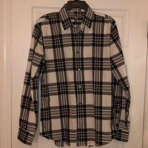 Express Men's Grey Plaid Button Down Shirt